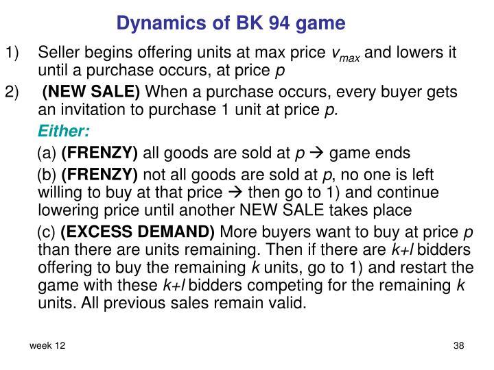 Dynamics of BK 94 game