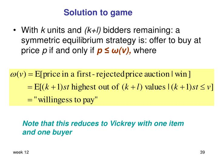 Solution to game