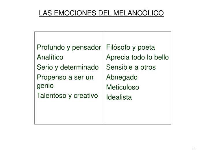 LAS EMOCIONES DEL MELANCÓLICO