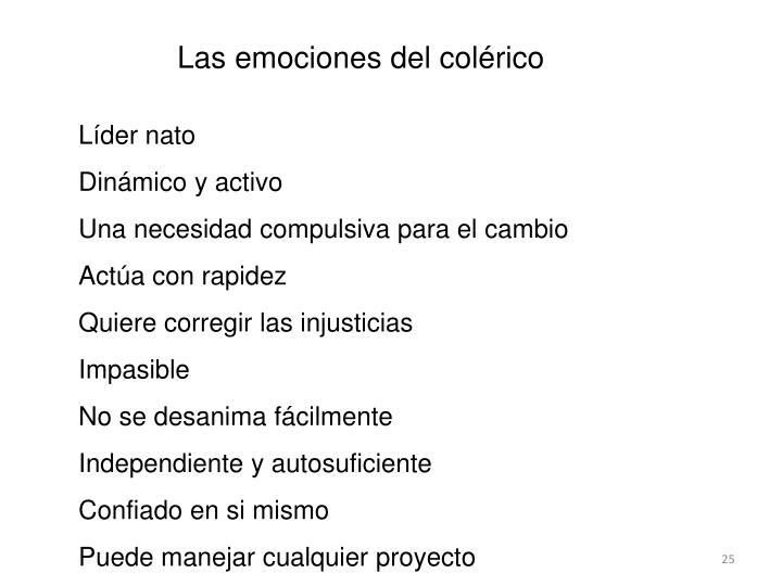 Las emociones del colérico