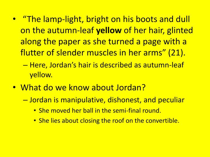 """The lamp-light, bright on his boots and dull on the autumn-leaf"