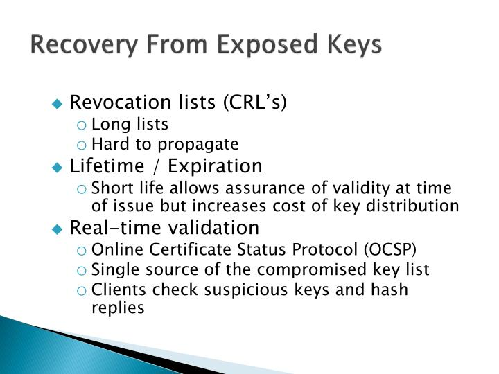 Recovery From Exposed Keys