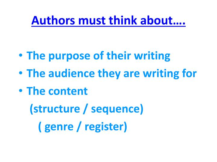 Authors must think about….