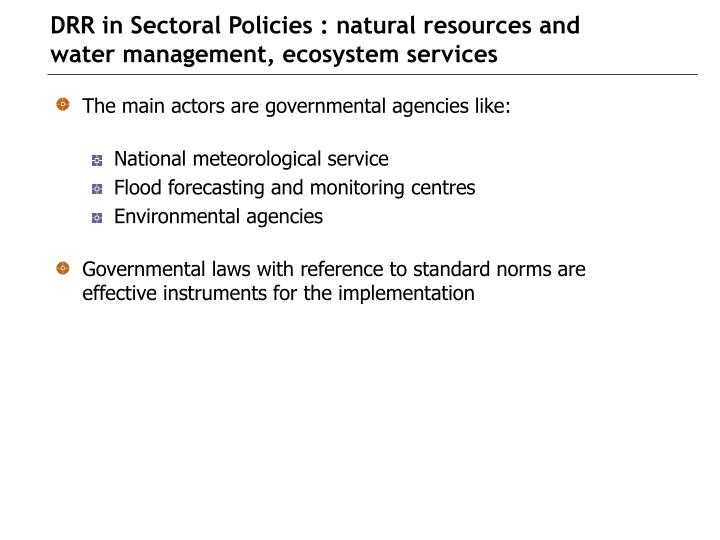 DRR in Sectoral Policies : natural resources and water management, ecosystem services