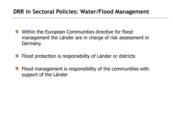 DRR in Sectoral Policies: Water/Flood Management