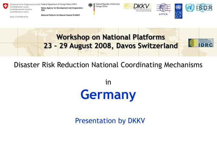 Disaster Risk Reduction National Coordinating Mechanisms