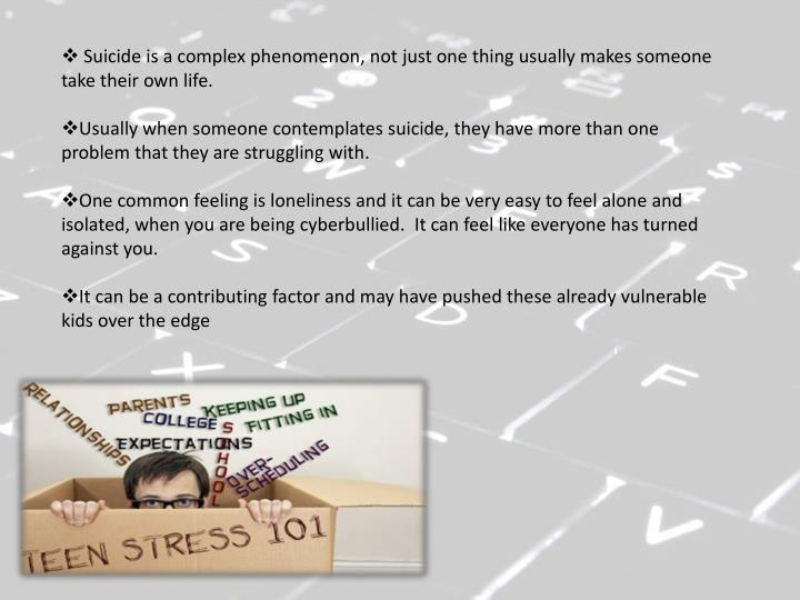 Suicide is a complex phenomenon, not just one thing usually makes someone take their own life.