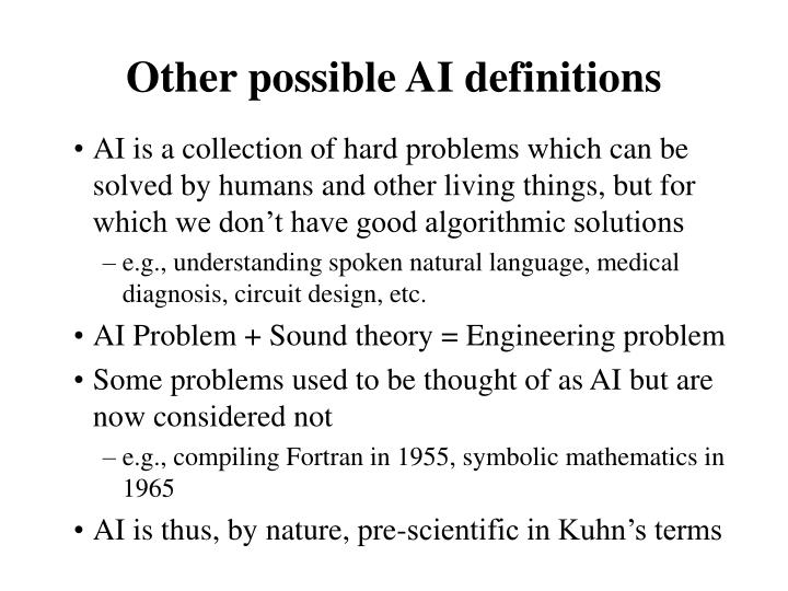 Other possible AI definitions
