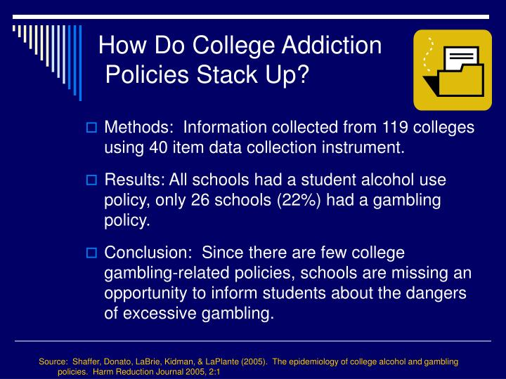 Source:  Shaffer, Donato, LaBrie, Kidman, & LaPlante (2005).  The epidemiology of college alcohol and gambling policies.  Harm Reduction Journal 2005, 2:1