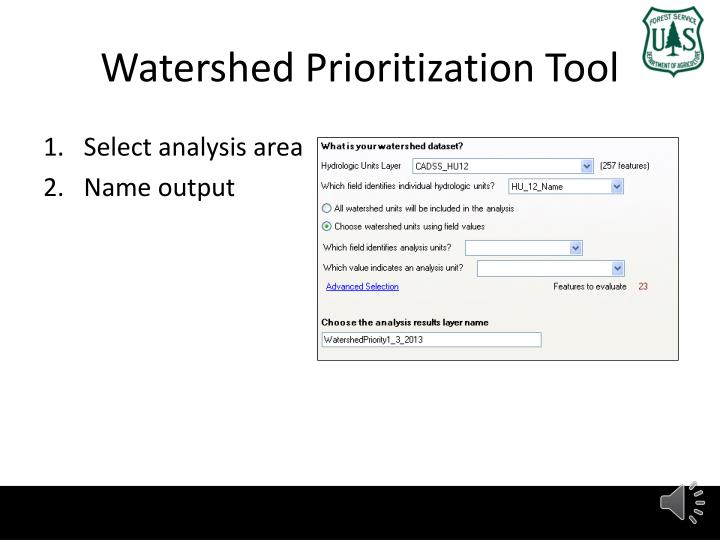 Watershed Prioritization Tool