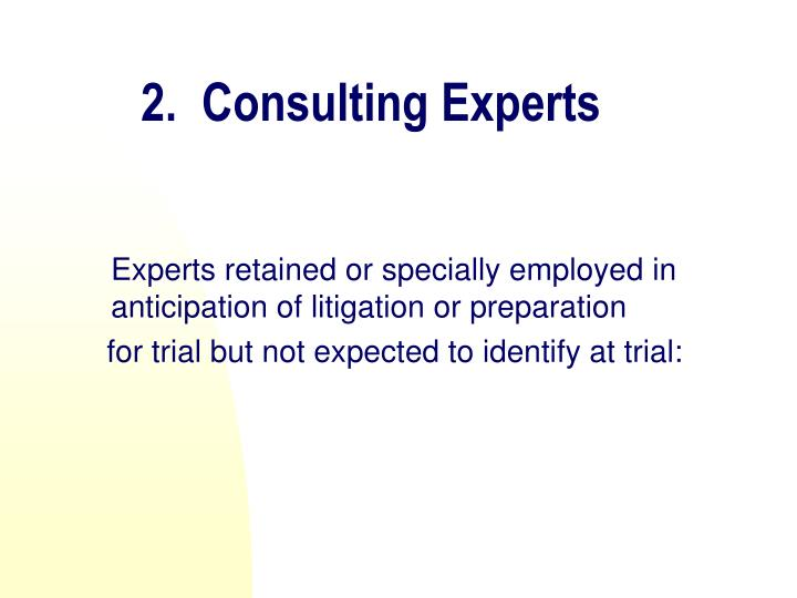 2.  Consulting Experts