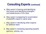 consulting experts continued