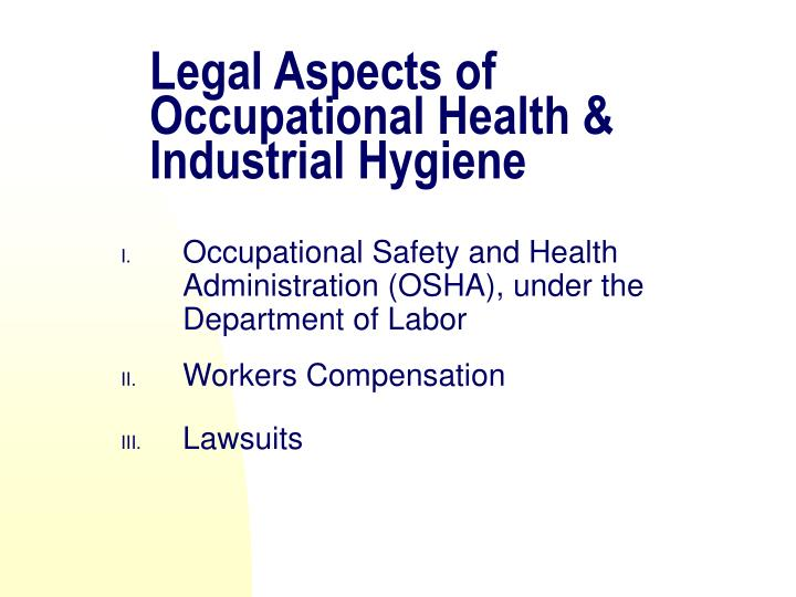 Legal Aspects of
