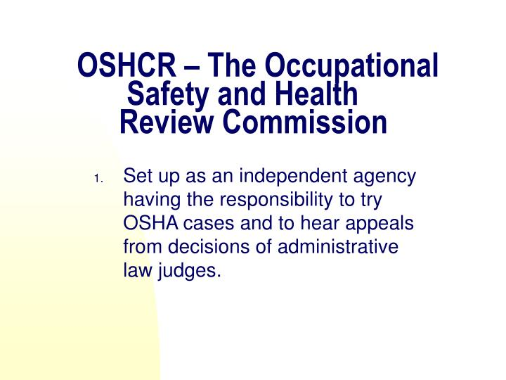OSHCR – The Occupational