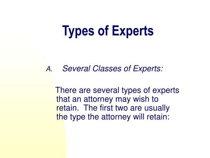 Types of Experts