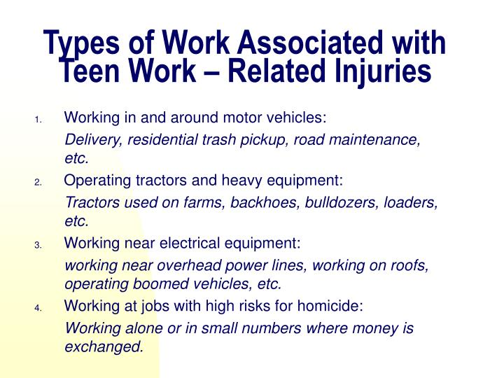 Types of Work Associated with