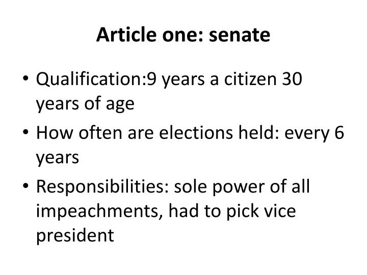 Article one: senate