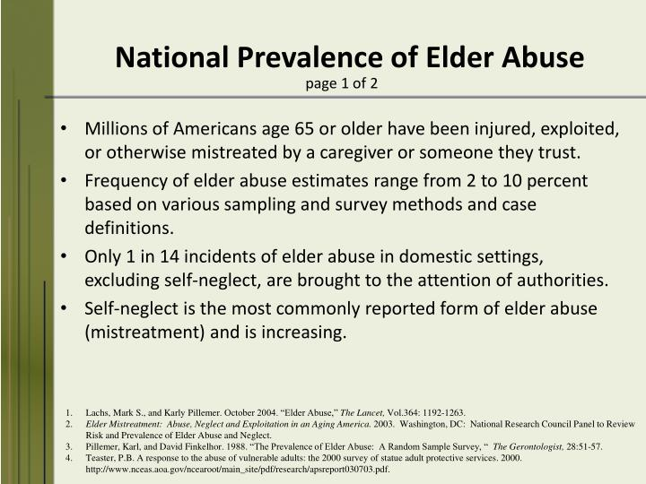 National Prevalence of Elder Abuse