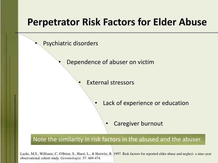Perpetrator Risk Factors for Elder Abuse