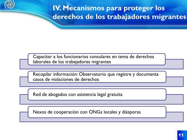 IV. Mecanismos para proteger los derechos de los trabajadores migrantes
