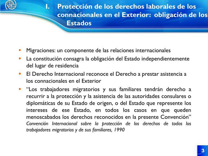 Protección de los derechos laborales de los connacionales en el Exterior:  obligación de los