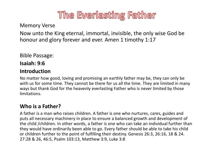 the everlasting father