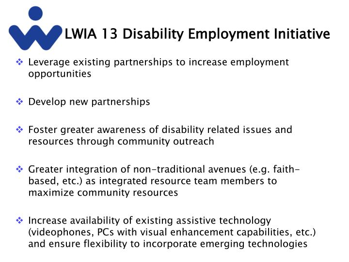 LWIA 13 Disability Employment Initiative
