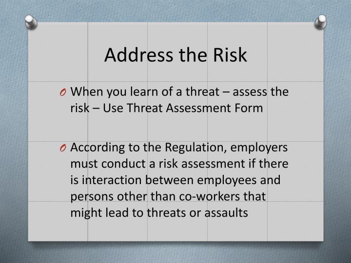 Address the Risk