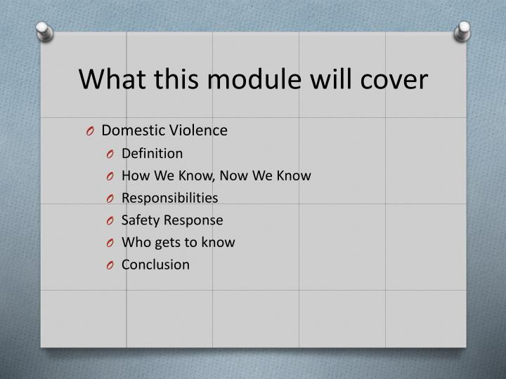 What this module will cover