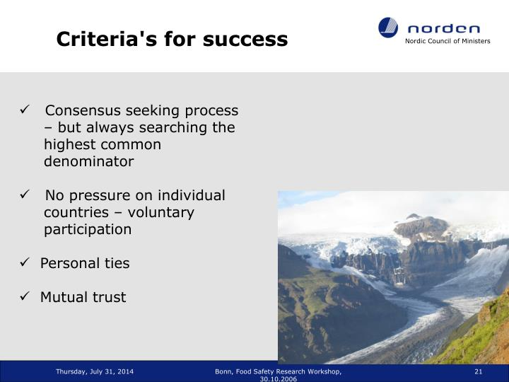 Criteria's for success