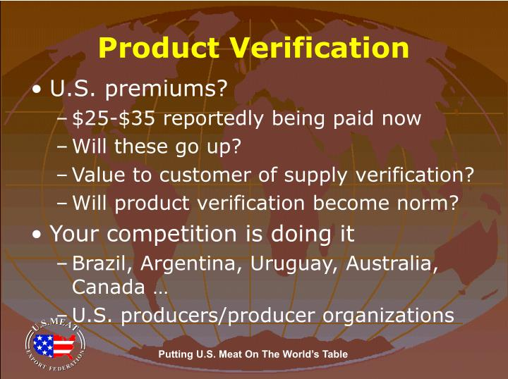 Product Verification