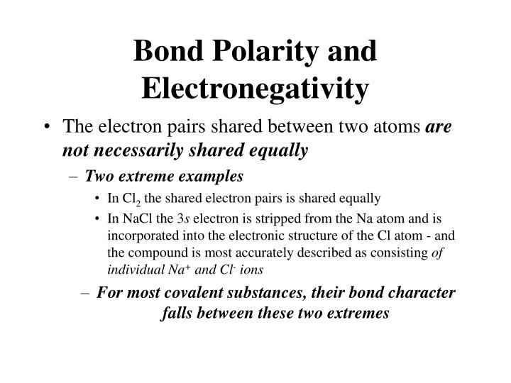 Bond Polarity and Electronegativity