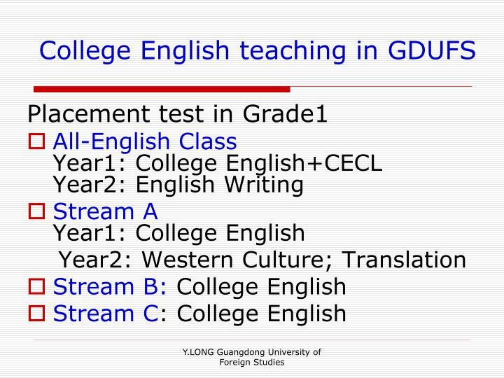 College English teaching in GDUFS