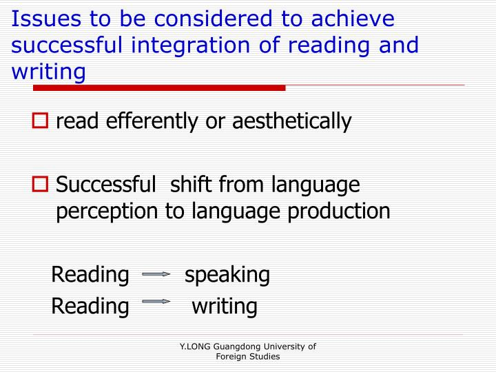 Issues to be considered to achieve successful integration of reading and writing