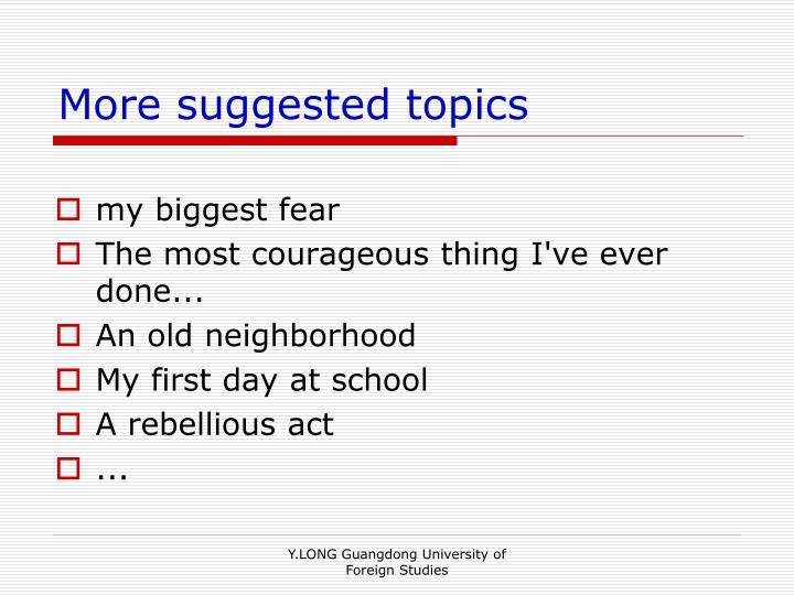 More suggested topics