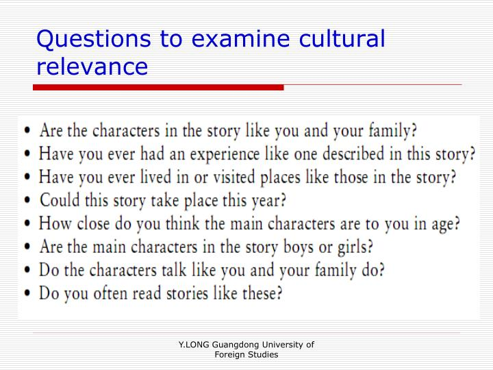 Questions to examine cultural relevance