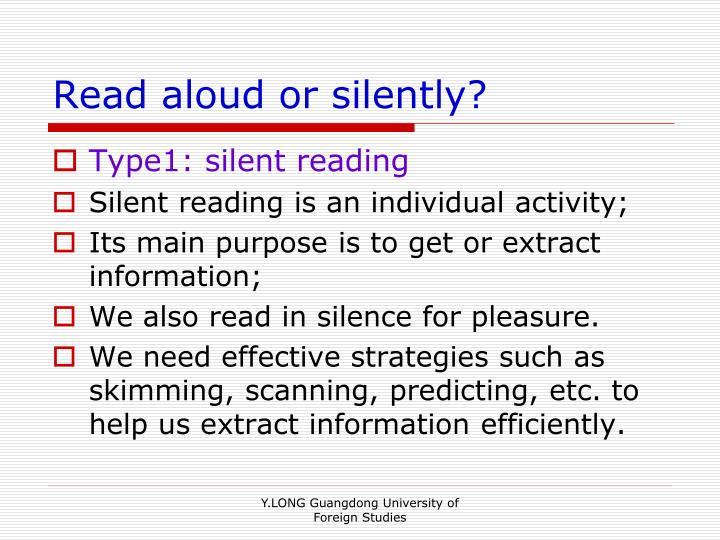 Read aloud or silently?