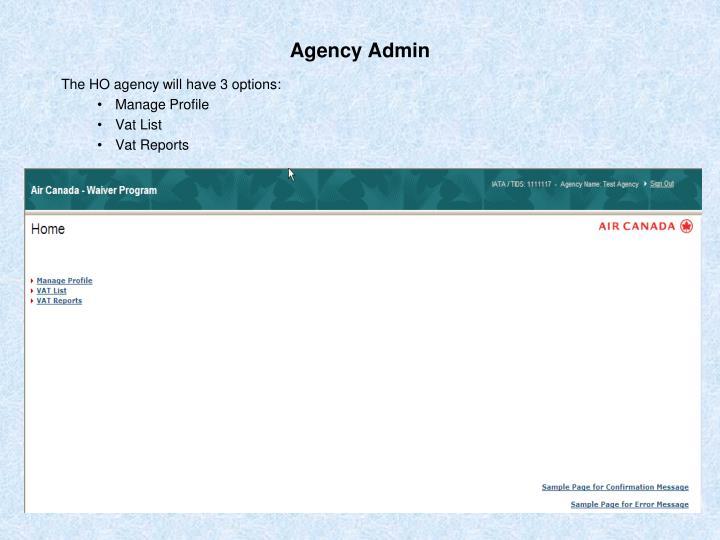 Agency Admin