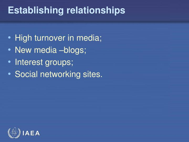 Establishing relationships