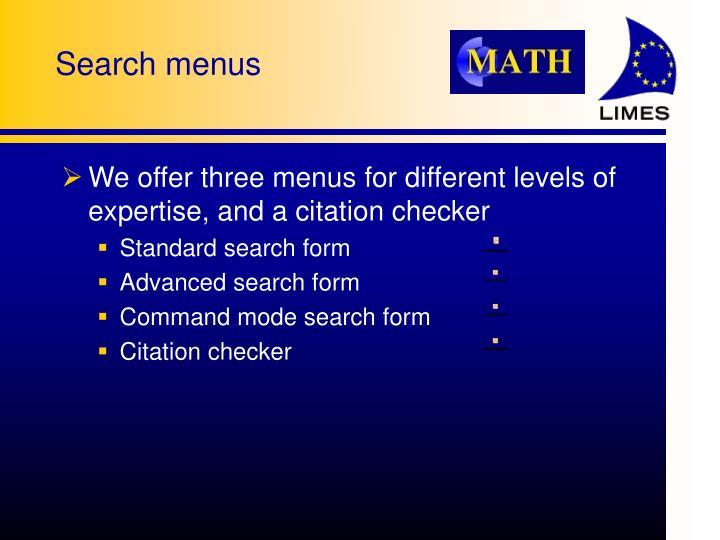 Search menus