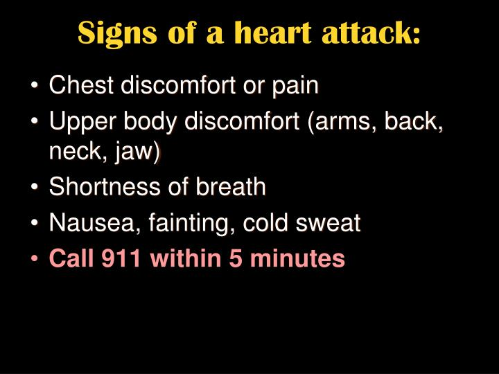 Signs of a heart attack: