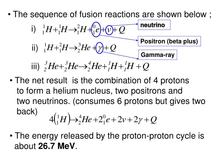 The sequence of fusion reactions are shown below ;