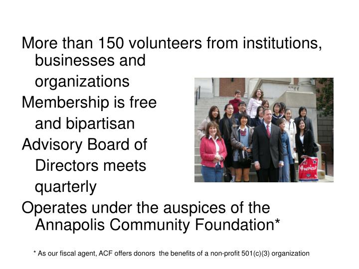 More than 150 volunteers from institutions, businesses and