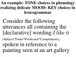 an example tone choices in phonology realizing delicate mood key choices in lexicogrammar