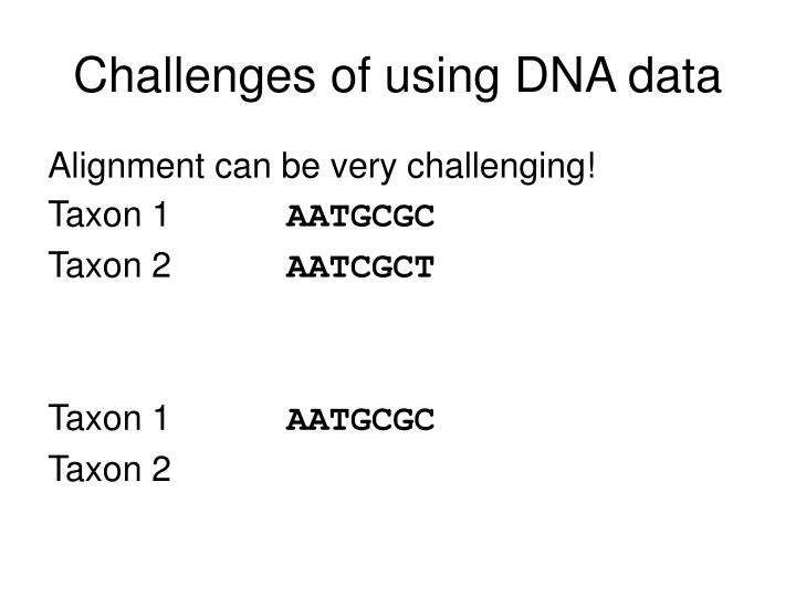 Challenges of using DNA data