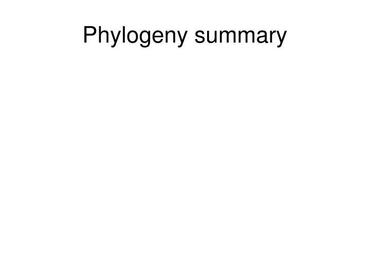 Phylogeny summary