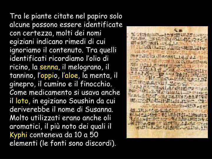 Tra le piante citate nel papiro solo alcune possono essere identificate con certezza, molti dei nomi egiziani indicano rimedi di cui ignoriamo il contenuto. Tra quelli identificati ricordiamo l'olio di ricino, la