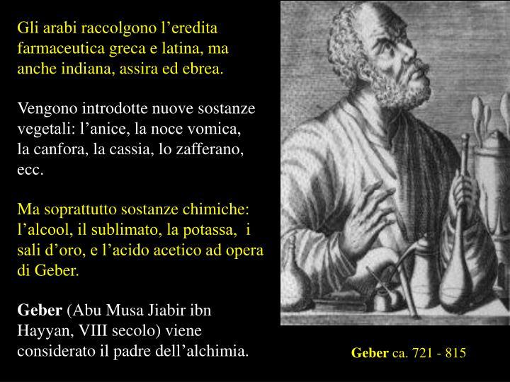 Gli arabi raccolgono l'eredita farmaceutica greca e latina, ma anche indiana, assira ed ebrea