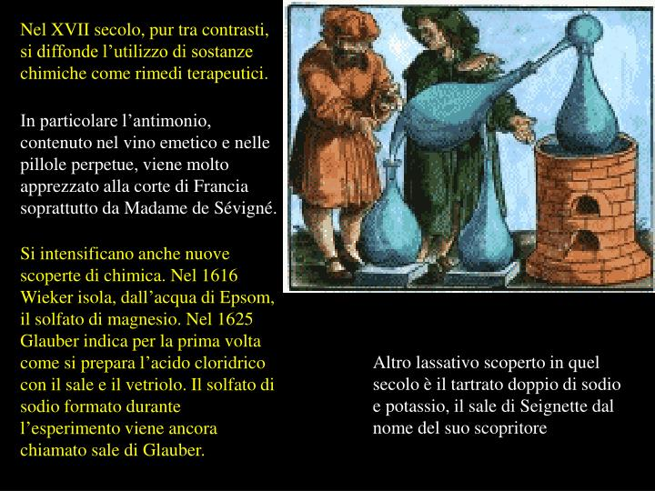 Nel XVII secolo, pur tra contrasti, si diffonde l'utilizzo di sostanze chimiche come rimedi terapeutici.