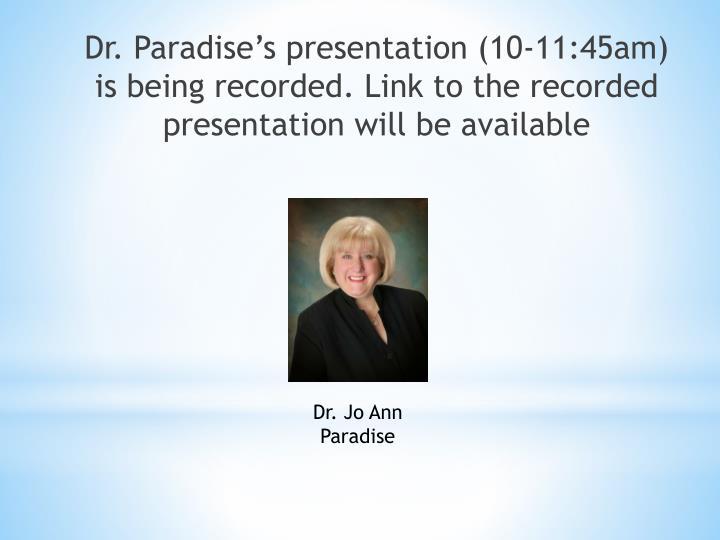 Dr. Jo Ann Paradise